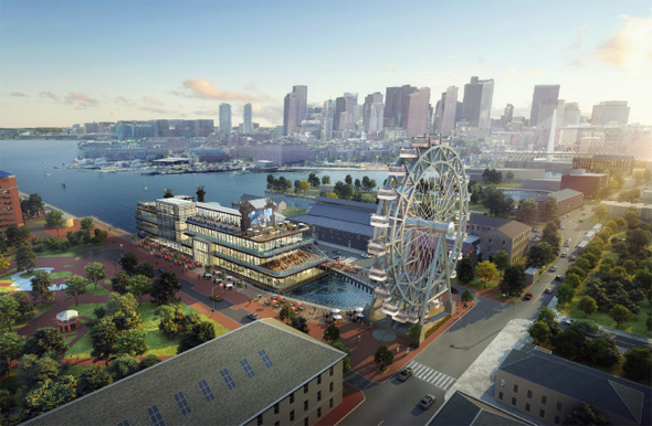 Proposed Navy Yard Ferris wheel and boat